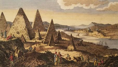 Quand on pouvait aisément, avant l'invention de la photographie, multiplier les pyramides de Gizeh ( collection au musée de l'Arles antique).